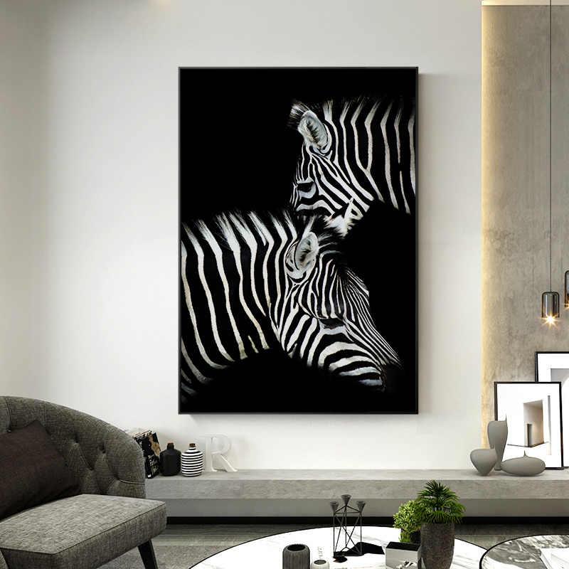 สีดำและสีขาวสัตว์ภาพวาดผ้าใบห้องนั่งเล่นสิงโตช้างZEBRAโปสเตอร์และพิมพ์ภาพผนังสำหรับตกแต่งบ้าน