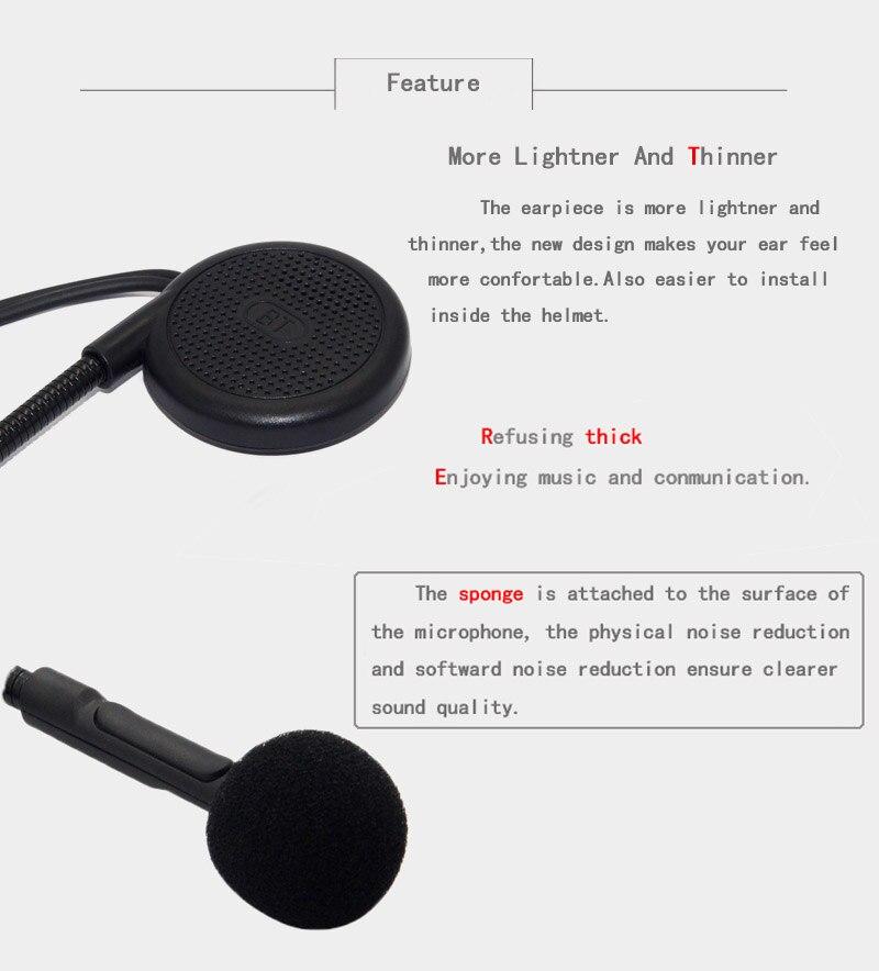 JaJaBor ультратонкая гарнитура 3-го поколения для мотоциклетного шлема, беспроводная Bluetooth гарнитура, моторная гарнитура, динамик с губчатым микрофоном