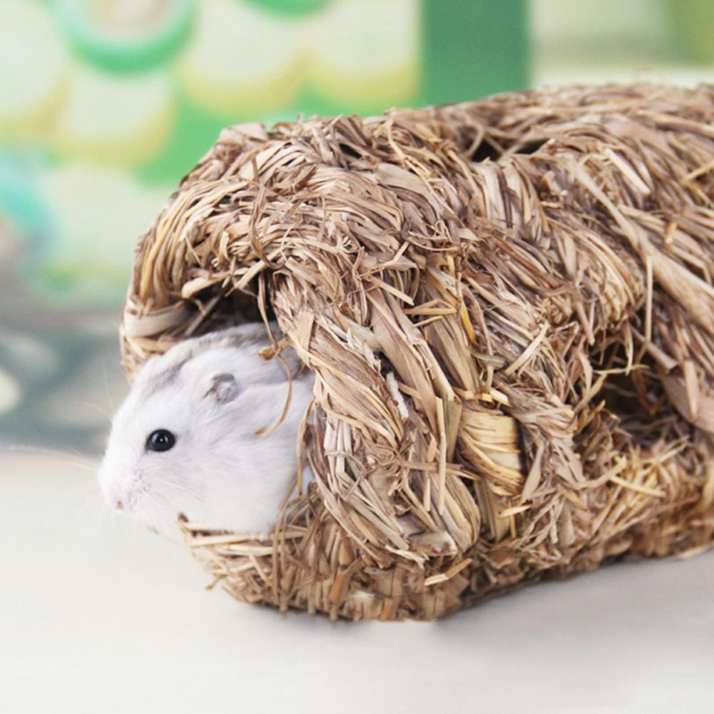 Grass Straw Small Pet Rabbit Hamster Guinea Pig Cage Nest House Chew Bed Tunnel