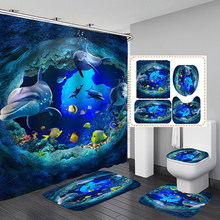 new Ocean Dolphin Deep Sea Polyester Shower Curtain Bathroom Waterproof Pedestal Rug Lid Toilet Cover Bath Mat Set(China)