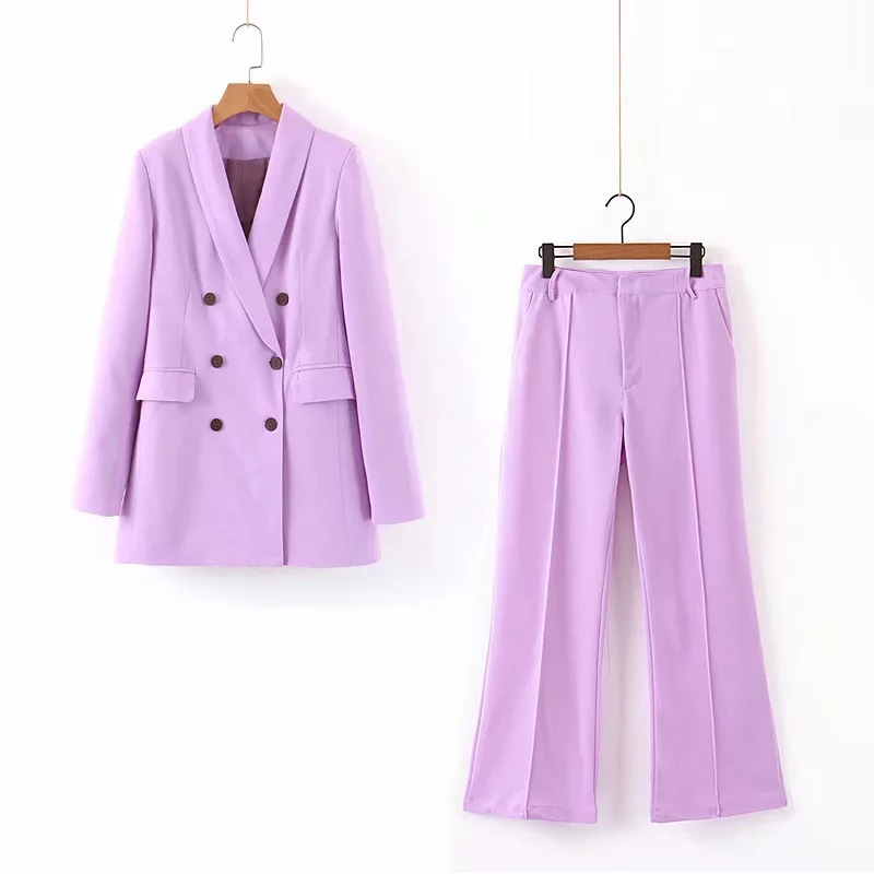 Women Suits Pants Suit 2019 Autumn New Solid Color Long-sleeved Suit Jacket Female Office Set Casual Pants Two-piece Set