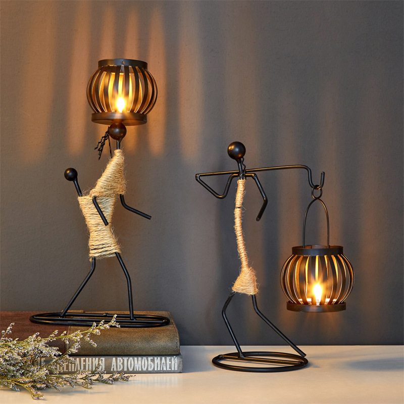 Nordic Metal Candlestick Abstract Art Character Sculpture Candle Holder  2