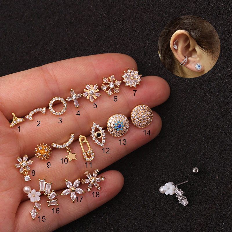 1 PCS Mix Kinds Trendy Small Snowflake Flower Eye Ear Studs Cuff Earrings Cute Silver Color CZ Helix Piercing Cartilage Earrings