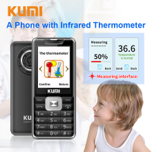 Unlocked KUMI Feature Mobile Phone with Infrared Thermometer Senior Kids Big Key