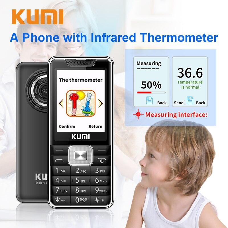 Unlocked KUMI Feature Mobile Phone with Infrared Thermometer Senior Kids Big Keys Multi Language Cellphone Bluetooth Mi 1