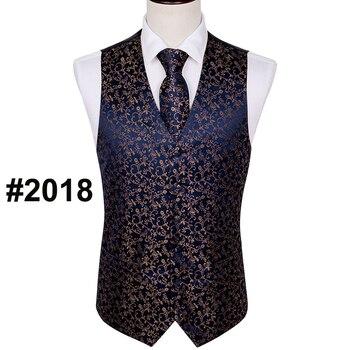 Designer Mens Classic Black Paisley Jacquard Folral Silk Waistcoat Vests Handkerchief Tie Vest Suit Pocket Square Set Barry.Wang 18