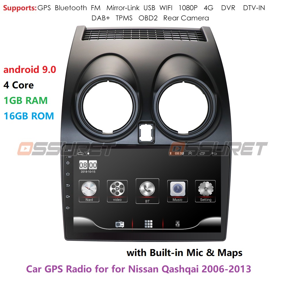 Android 9.0 Car Radio Multimedia Video Player Navigation GPS For Nissan Qashqai J10 2006 2007 2008 2009-2013 No 2 Din DVD