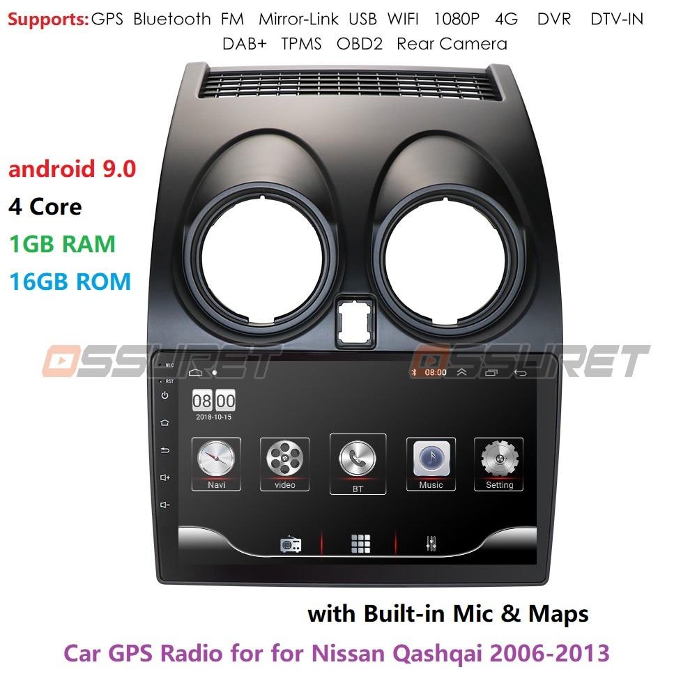 Android 9.0 autoradio multimédia lecteur vidéo Navigation GPS pour Nissan Qashqai J10 2006 2007 2008 2009-2013 No 2 Din DVD