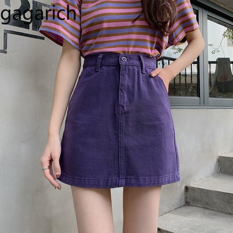 Gagarich Ladies Solid A Line Jupe Femme Chic High Waist Slim Mini Short Skirts Summer Women Casual Korean Denim Skirt