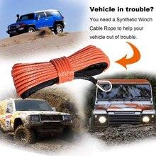 7.700 lbs de alta calidad 6mm x 15m de cable sintético cable de cabrestante uhmwpe cuerda con funda de accesorios de coche cuerda de remolque cinturón