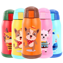 Hot sale 600ml 18/8Stainless steel Travel Thermos Cup Children Portable Rope Bag Double Cap Vacuum Flask Baby Straw Water Bottle