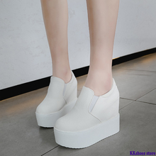 2020 Spring New Designer 10CM Wedges White Shoes Female Platform Sneake