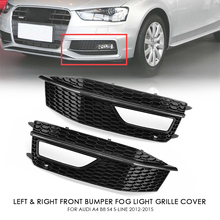 Left/Right Black Car Side Front Bumper Fog Light Grill Grills Grille Cover Replacements For Audi A4 B8 S4 S line 2012 2015