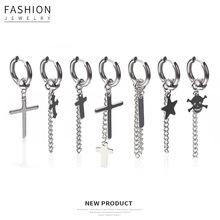 2019 Korean trendy silver kpop earrings for women and man cross skull chain hip hop men ear buckle