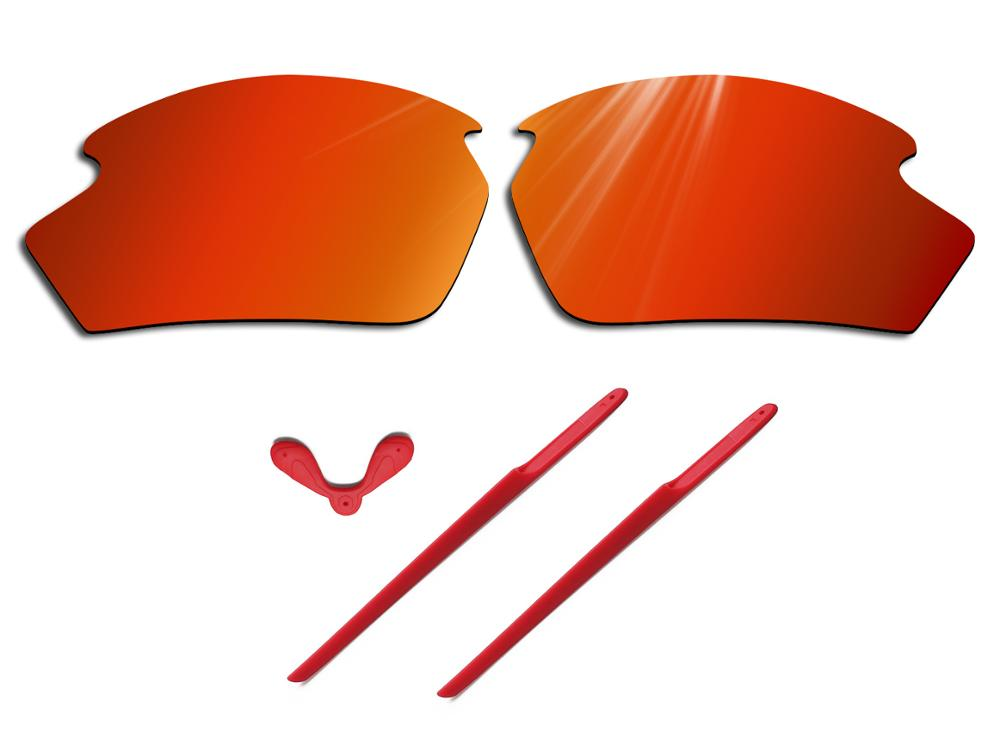 Glintbay 100% Precise-Fit Fire Red Replacement Lenses And Red Rubber Kit For Oakley Rudy Project Rydon Sunglasses