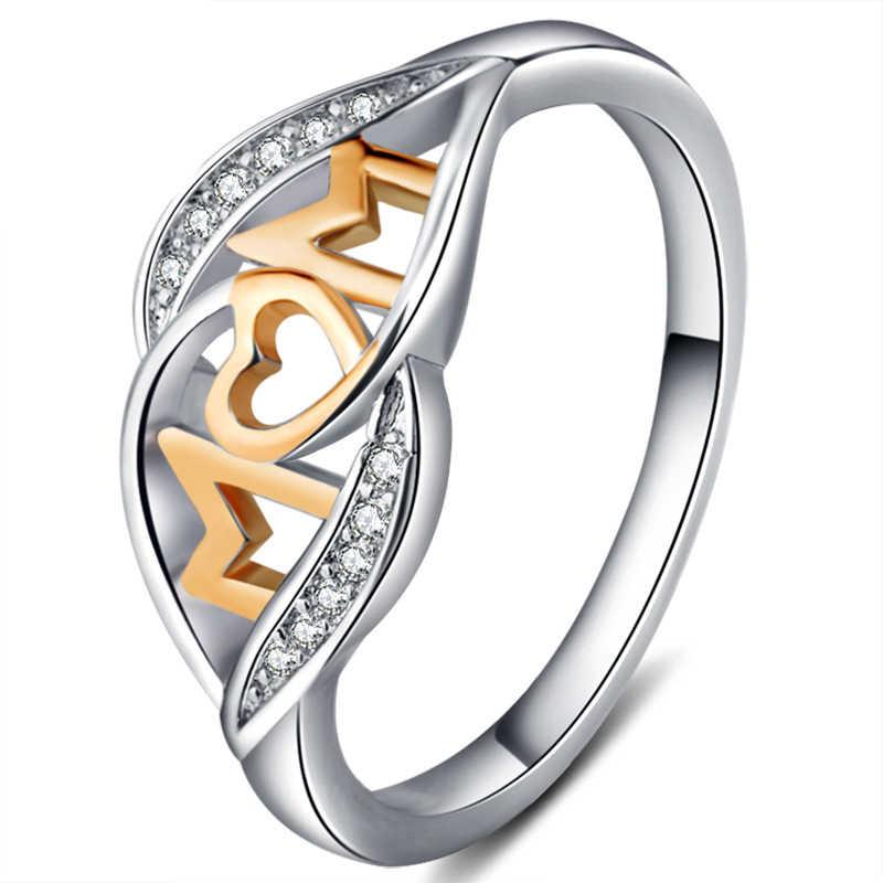 2 צבעים אהבת אמא לב בצורת עלה זהב צבע טבעת עבור נשים המבריק זירקון ריינסטון רומנטי תכשיטי אמא של יום מתנת יום הולדת