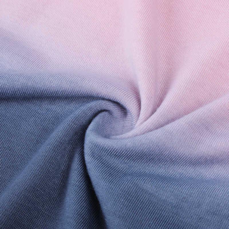 Oten Wanita Plus Ukuran Tee Kemeja Musim Panas Gradien Biru Tie-Dye Tiga Kuartal Lengan T Shirt Pakaian Kasual femme Fringe Top