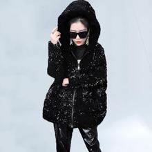 2020 Зимние новые модные черного цвета с длинными рукавами капюшоном
