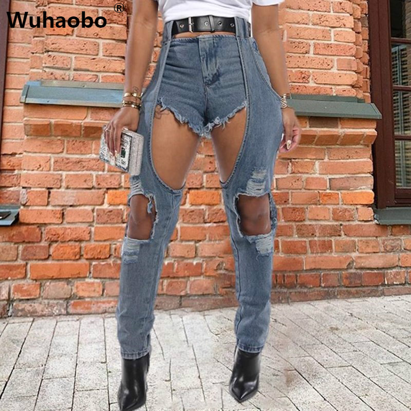 Wuhaobo Long Short Patchwork Jeans 2020 Women Sexy Hole Denim Pants Female New Style Fashion High Waist Long Trousers