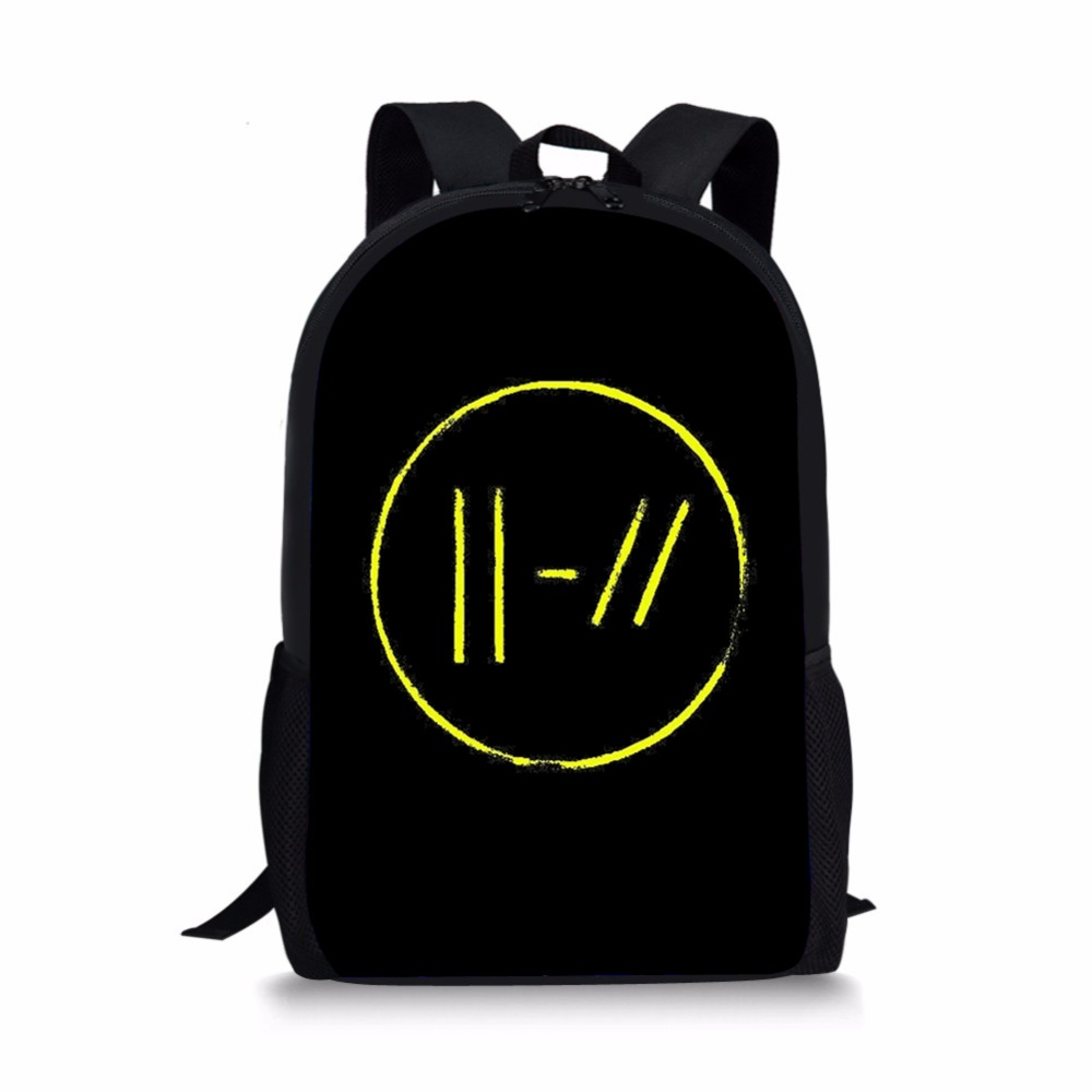 ThiKin Twenty One Pilots Printed School Bags Backpacks Rucksack Black Plecak Teenager Boys Girls Orthopedic Satchel Dropshipping