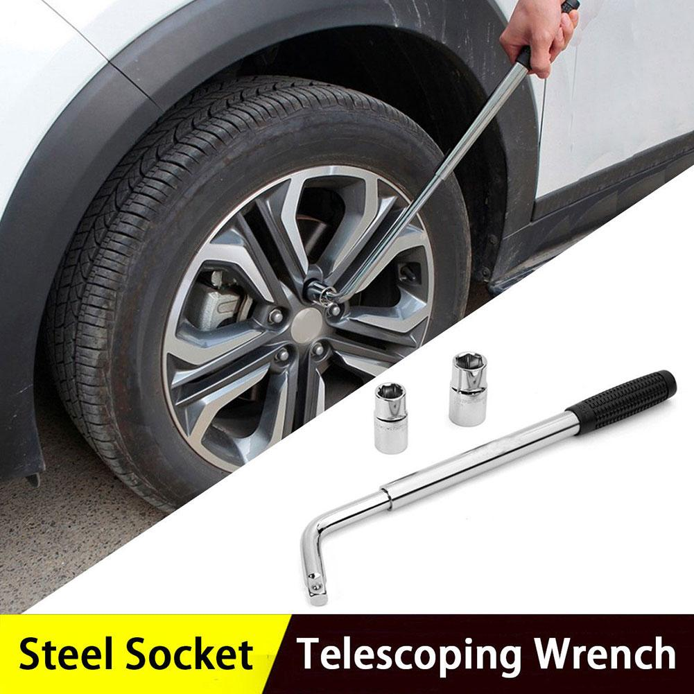Telescopic Vehicle Wheel Tire Spanner Nut Wrench With Socket Car Repair Tool