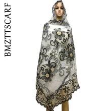 新アフリカスカーフ、 2019 イスラム教徒刺繍女性ビッグネットスカーフ、ネットスカーフソフトスカーフサイズ 210*110 センチメートルショールラップ