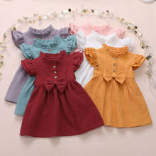NEW 2020 Toddler Kids Baby Girls Summer Solid Linen Button Ruffle Short Sleeves Cute Bow Princess Dress Party Dress(China)