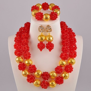 Red African Wedding Beads Jewelry Set Nigerian Necklace Sets