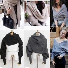 Женский вязаный свитер, топы, шарф с рукавом, зимняя теплая шаль, шарфы, Осенний вязаный свитер с v-образным вырезом, трикотаж с запахом, модный