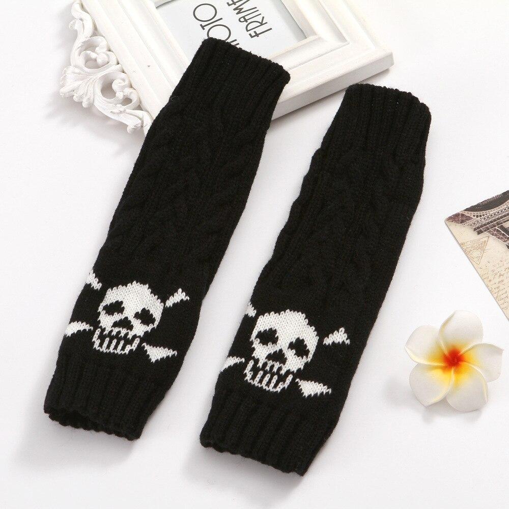 EMO Style Men and Women Winter Gloves Cartoon Winter Twist Knitted Wool Warm Half Finger Gloves Accessories Punk Skull Gloves