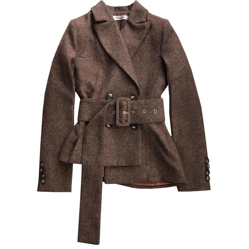Women Blazers and Jackets Autumn double breasted short herringbone woolen small suit jacket women coat veste femme plus size