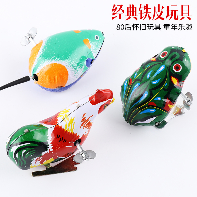 Algam Frog Winding Wind-up Toy 80 Nostalgic Spring Mouse Chickens Leap Frog Stall Small Toy