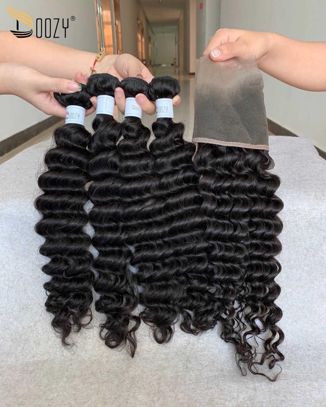 Doozy cabello peruano onda profunda 4 paquetes con cabello virgen humano Frontal