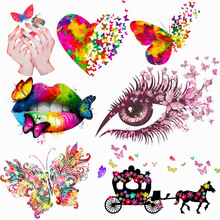 Prajna Iron On Transfers Vinyl Heat Transfer Patch Butterfly Sexy Lip Patches For Clothes Thermal Applique shirt Badge Washable diy custom brand logo patches for clothes iron on transfers for t shirt heat transfer vinyl sticker thermal transfers applique