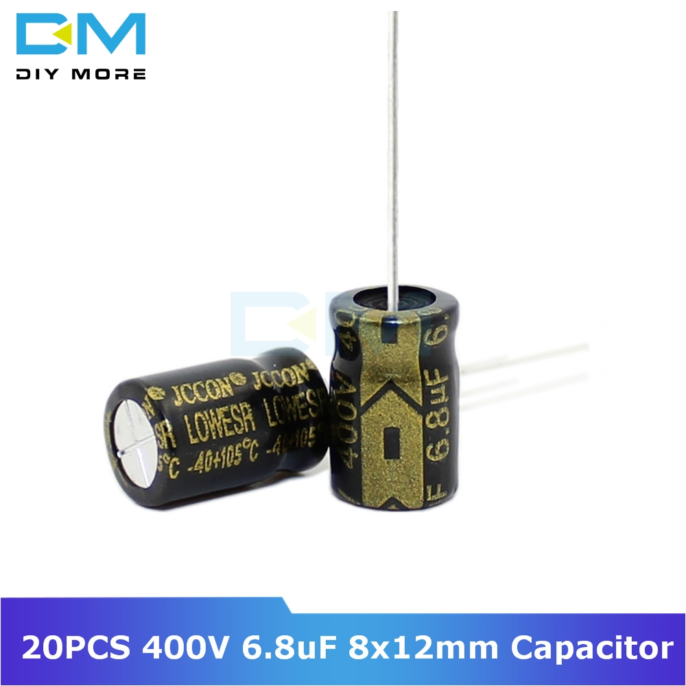 20PCS 400V 6.8uF 8x12mm Aluminum Electrolytic Capacitor High Frequency Low Impedance Through Hole Capacitor 8*12mm 8X12