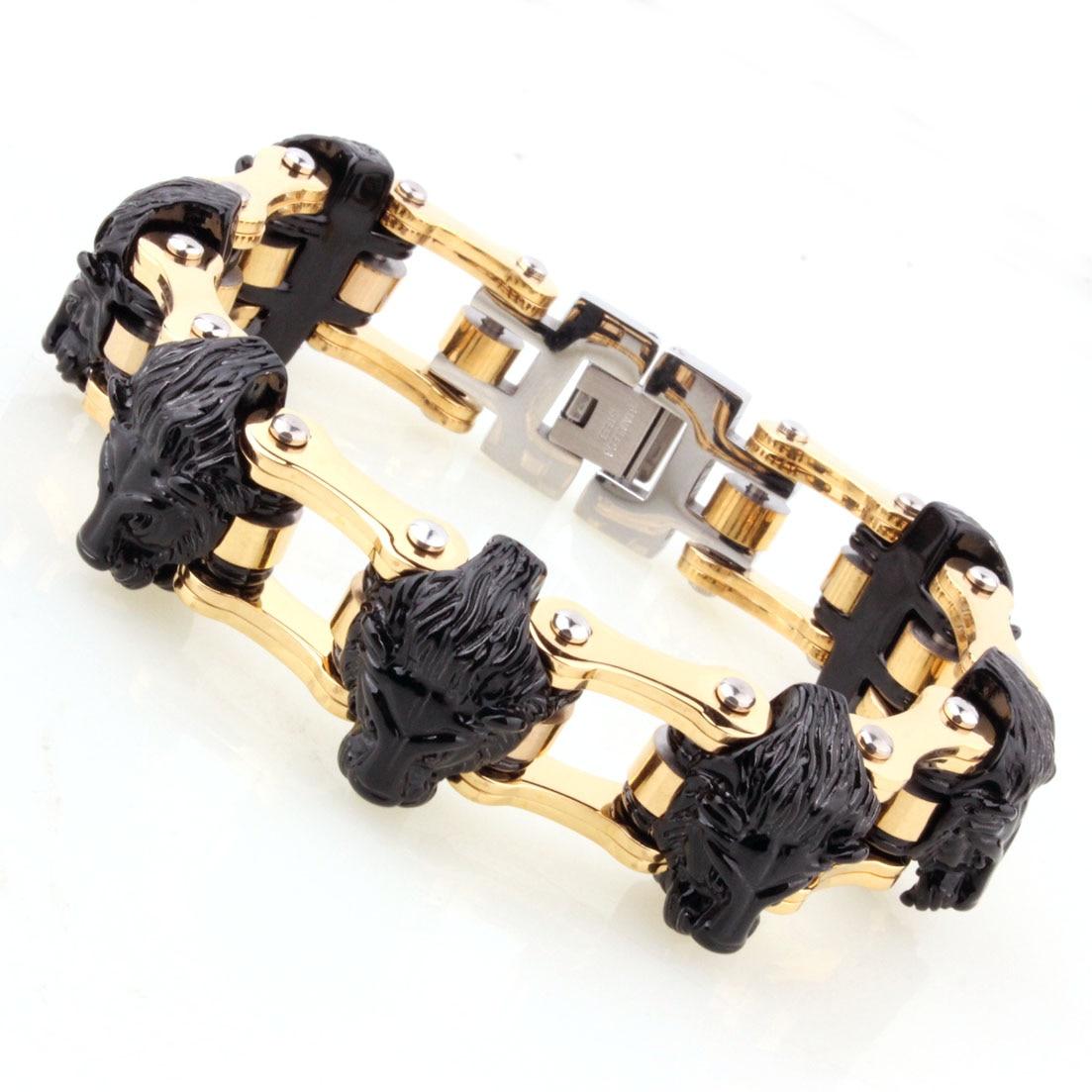 Alta calidad negro y oro León Motor bicicleta cadena motocicleta cadena pulsera 316L Acero inoxidable joyería