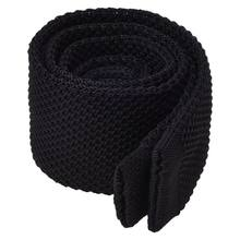 Men's Fashion Solid Tie Knit Knitted Tie Pure Color Necktie Narrow Slim Woven Black(China)