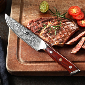 Image 5 - XINZUO 5 inch Steak Knife High Carbon Japanses Damascus Stainless Steel with Rosewood Handle Superior Quality BBQ Kitchen Tool