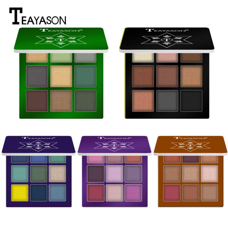 9 Color Matte Shimmer Eyeshadow Palette Waterproof Glitter Diamond Pigment Highlighter Eye Shadow Powder Makeup Cosmetics TSLM2