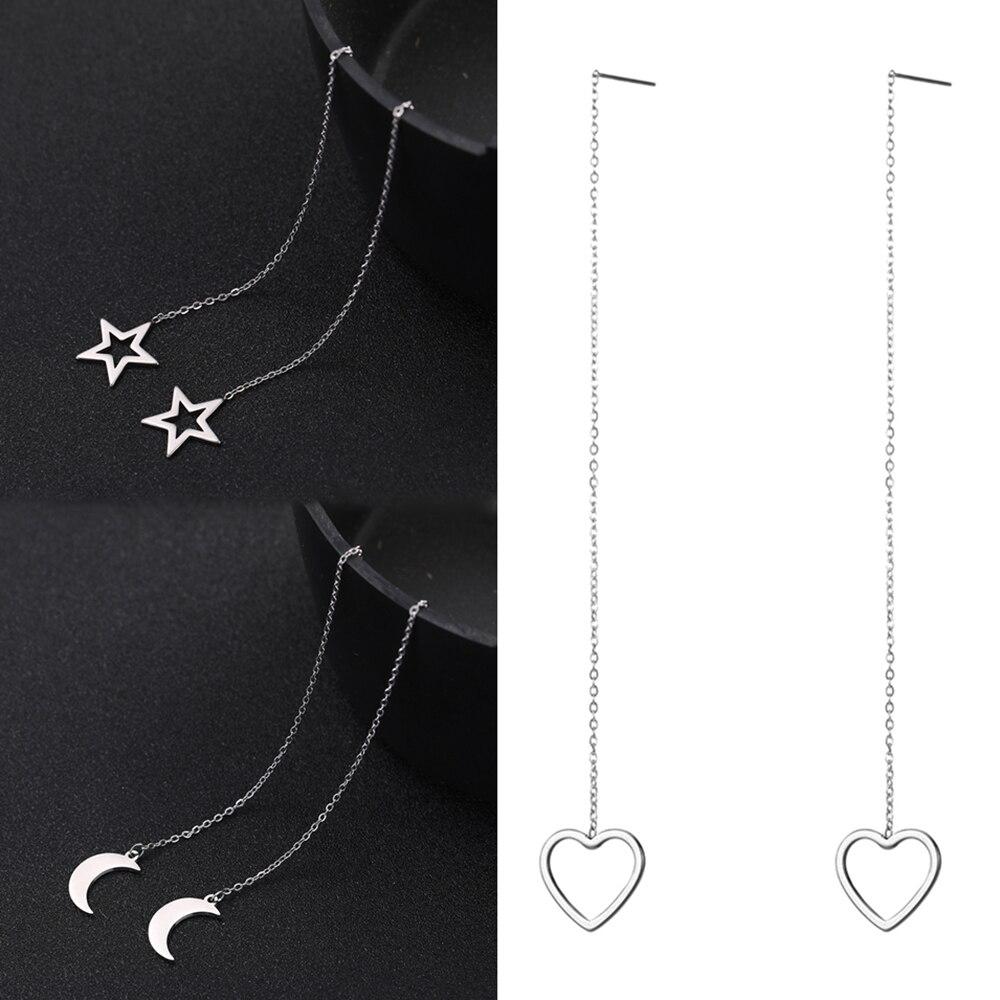 Teamer Chain Earrings Linear-Threader Fashion Jewelry Long-Line Stainless-Steel Korean-Star
