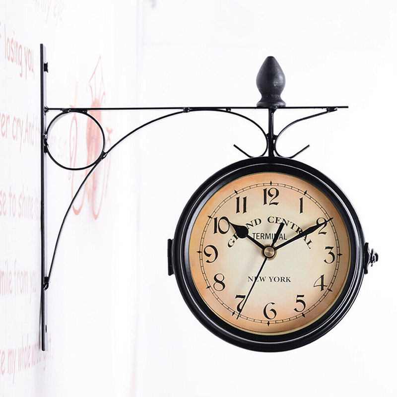 Hot Classic Retro Wall Clock 22CM Double Sided Outside Bracket Clock Home Decoration title=