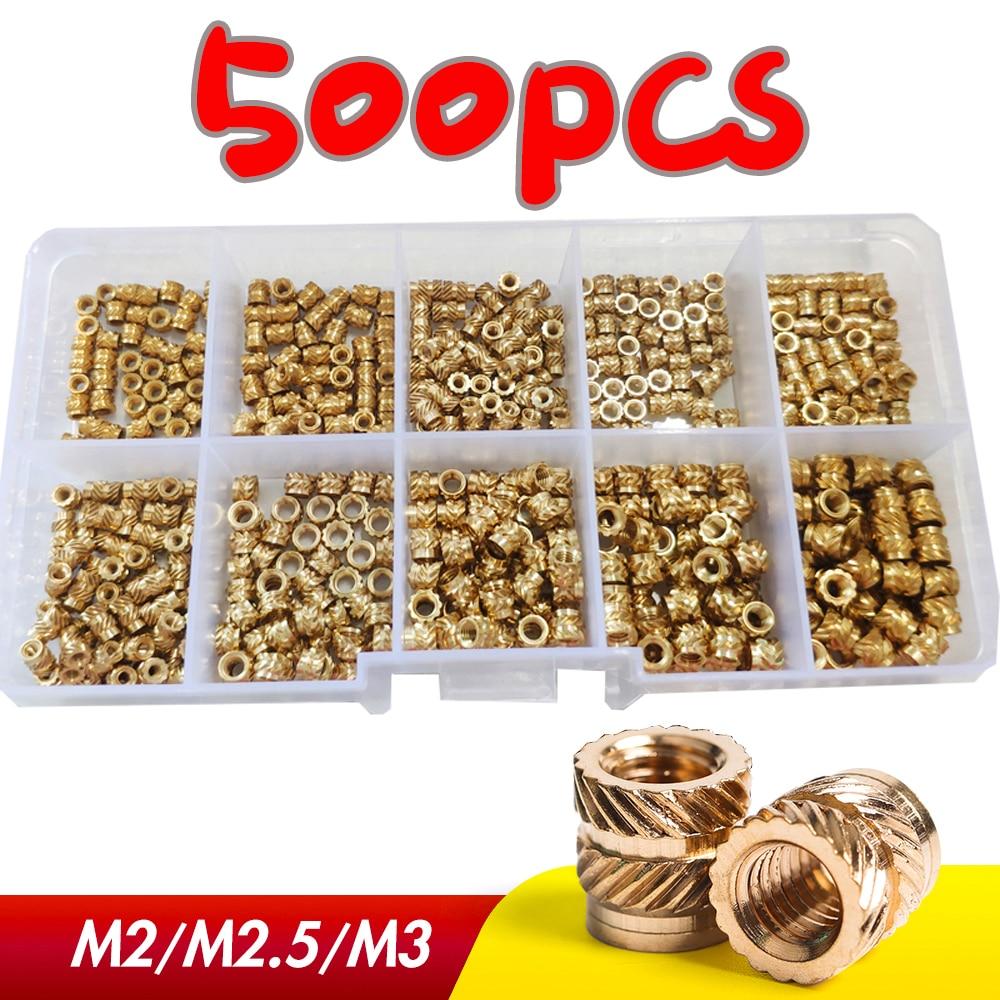 500Pcs M2 M2.5 M3 Brass Hot Melt Inset Nuts Assortment Kit Thread Copper Knurled Threaded Insert Embedment Nuts Set