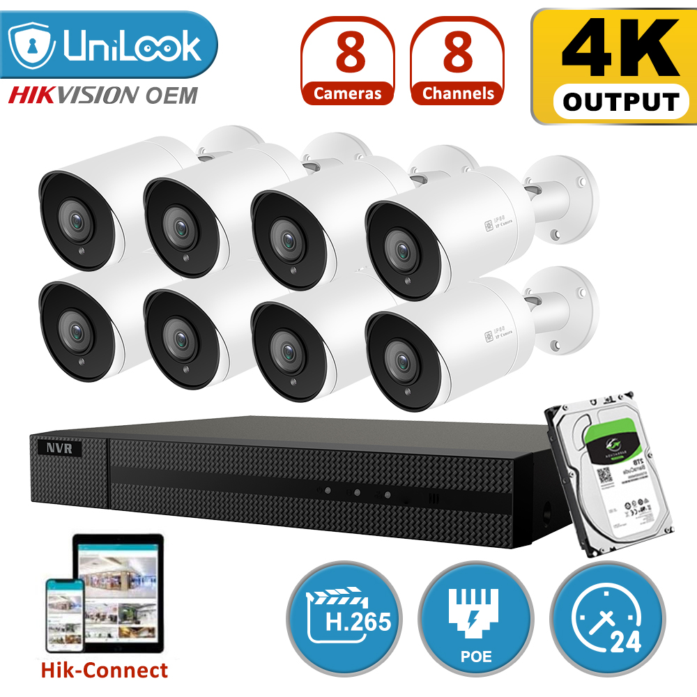 Kit de NVR POE UniLook H.265 + 8CH 8MP 4K Sistema de CCTV IR al aire libre Audio Video 4K sistemas de seguridad 2,8mm gran angular HIK conectar Sistema de alarma de casa, intercomunicador con alarma Wifi GSM, Control remoto, Autodial, detectores de 433MHz, IOS, Android, Tuya, teclado táctil con Control de aplicación