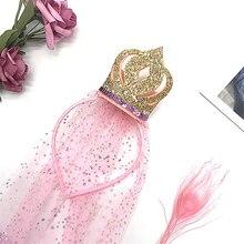 1 шт. детский обруч для волос для девочек Корона принцесса вуаль обруч для волос заколка реквизит для сцены детский подарок на день рождения ...
