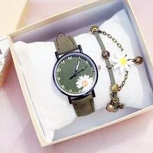 Venda quente vestido da mulher relógio daisy flores bonito senhoras relógio de pulso pulseira definir casual matte couro feminino relógios reloj mujer