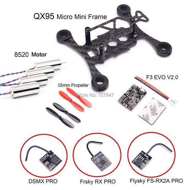 Micro mini QX95 95mm marco FPV RC fibra de carbono 8520 Motor Sin Núcleo F3 EVO V2.0 cepillo Control de vuelo 55mm Prop Frsky RX receptor