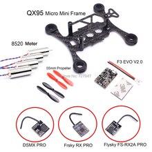 Micro mini quadro qx95 mm fpv rc, fibra de carbono 8520 sem fio motor f3 evo v2.0 escova controle de voo 55 receptor frsky rx adereço mm