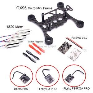 Image 1 - 마이크로 미니 QX95 95mm 프레임 FPV RC 탄소 섬유 8520 코어리스 모터 F3 EVO V2.0 브러시 비행 제어 55mm Prop Frsky RX 수신기