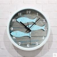 Redondo relógio de parede mudo estilo mediterrâneo retro deck padrão peixe vidro silencioso pendurado relógios casa sala estar decorações