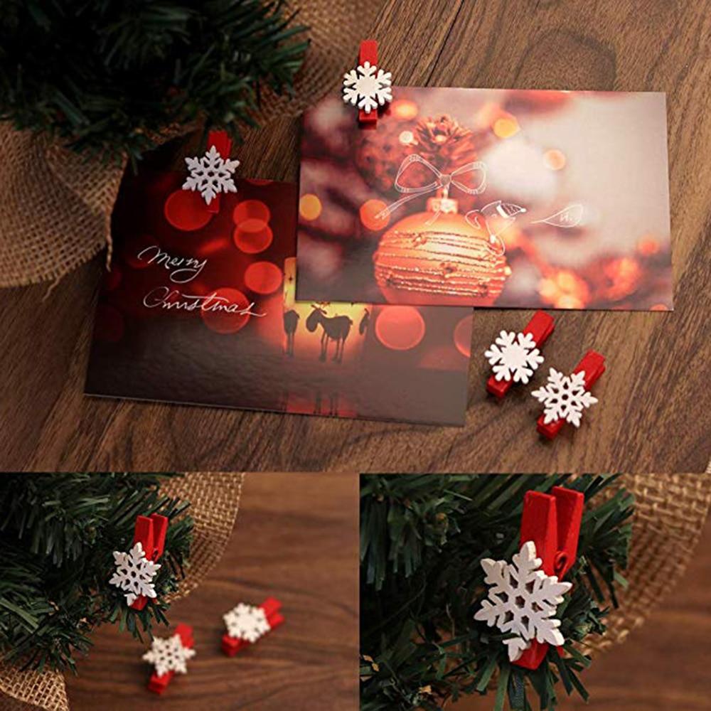 Красные липкие белые рождественские снежинки прямоугольные деревянные маркеры-50